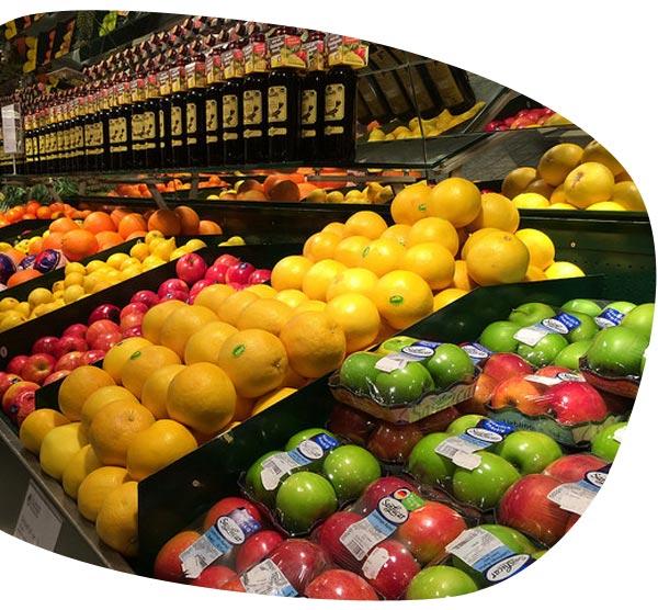 Groenteafdeling in de supermarkt